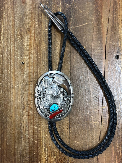 Navajo Sterling Silver Coral Turquoise Bear Claw Bolo Tie