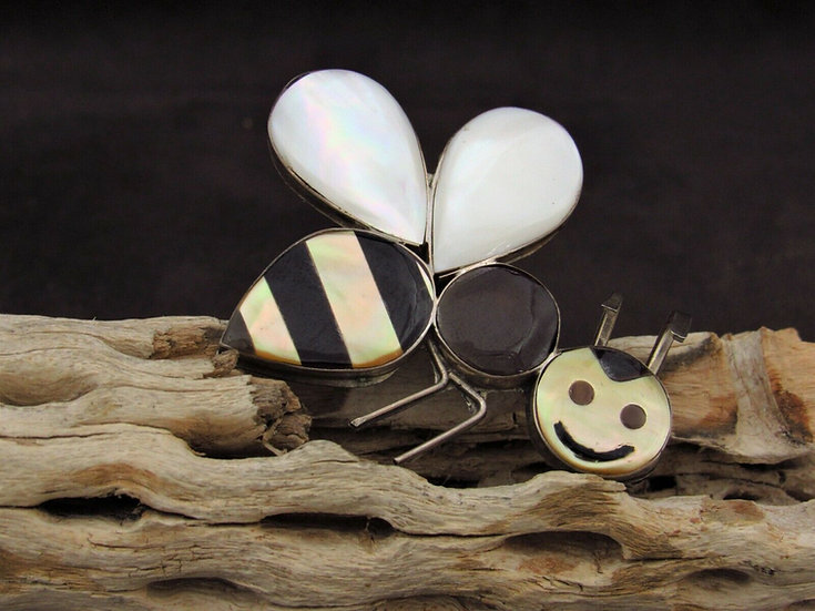 Sterling Silver Multi Stone Inlay Bumble Bee Pin/Pendant