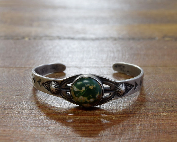 Vintage Children's Sterling Silver Green Turquoise Cuff Bracelet