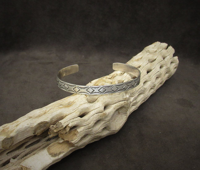 Sterling Silver Stamped Design Cuff Bracelet by B. Shorty