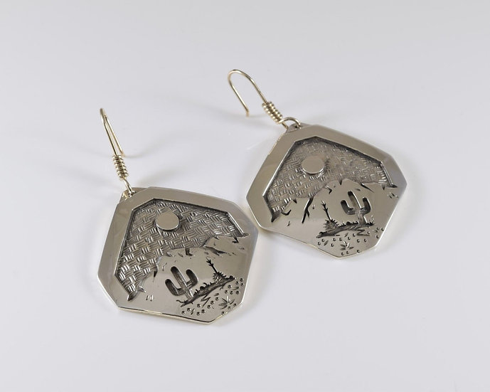 Saguaro Storm Desert Scene Sterling Silver Overlay Earrings by Rick Manuel