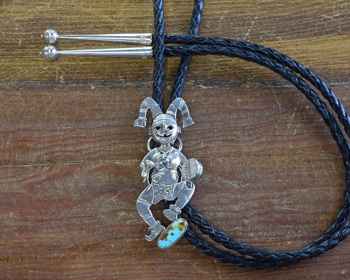 Navajo Sterling Silver Turquoise Clown Bolo Tie