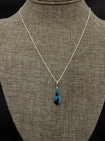 Zuni Turquoise and Jet Sterling Silver Inlay Necklace