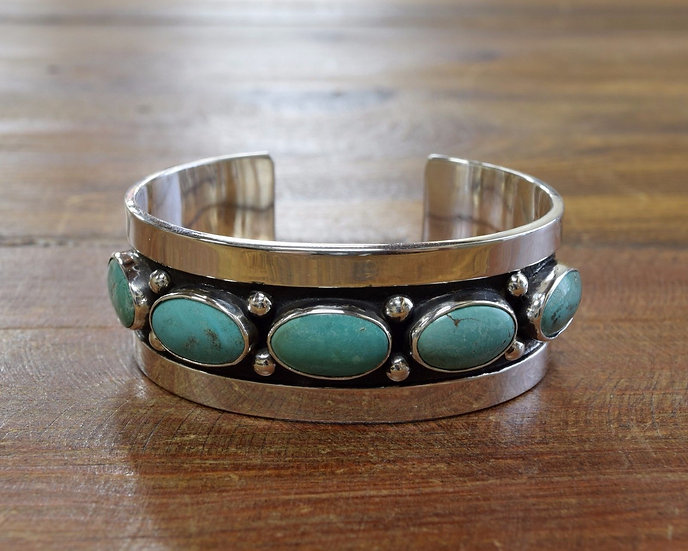 Turquoise Sterling Silver Cuff Bracelet by Jose Campos