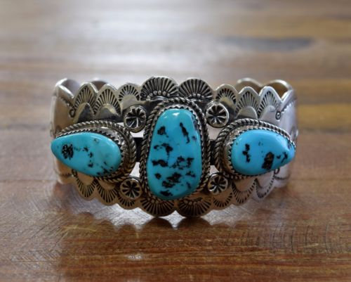 Vintage Signed Sterling Silver and Turquoise Cuff Bracelet