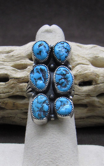 Fabulous Sterling Silver Multi Stone Turquoise Ring size 6 1/2