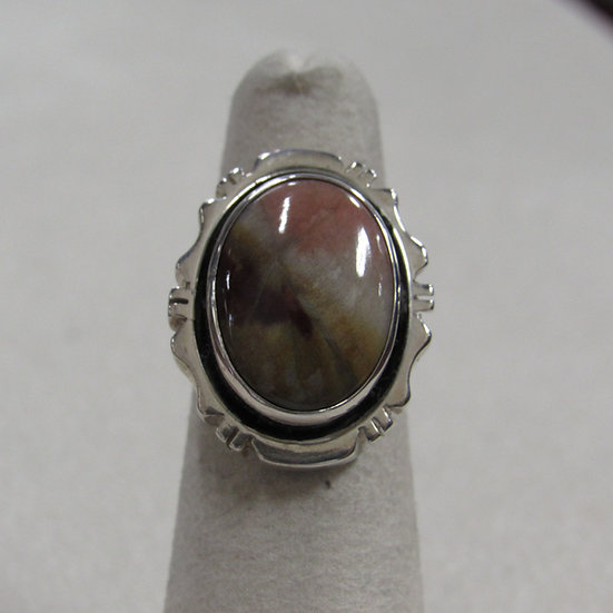 Southwestern Sterling Silver Ring with Unusual Stone by Navajo Priscilla Smith