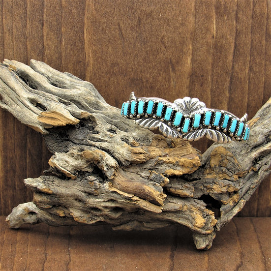 Vintage Zuni Turquoise Sterling Silver Cuff Bracelet by Cecilia Iule