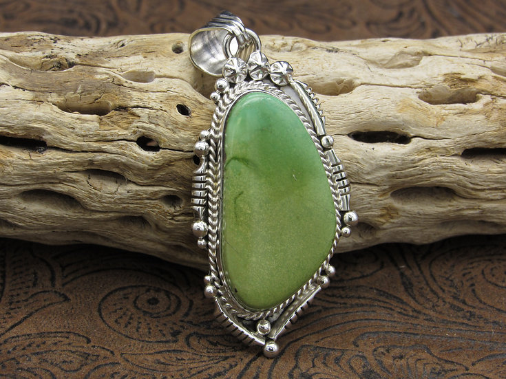 Navajo Green Turquoise Sterling Silver Pendant by Running Bear Workshop