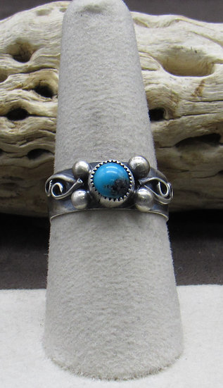 Dainty Turquoise and Sterling Silver Ring Size 8 1/2