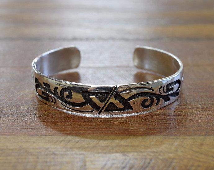 Vintage Navajo Sterling Silver Overlay Cuff Bracelet