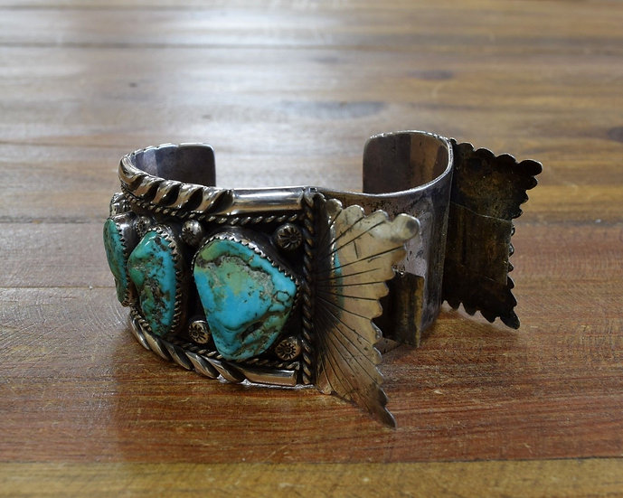 Vintage Navajo Turquoise Sterling Silver Watch Cuff Bracelet
