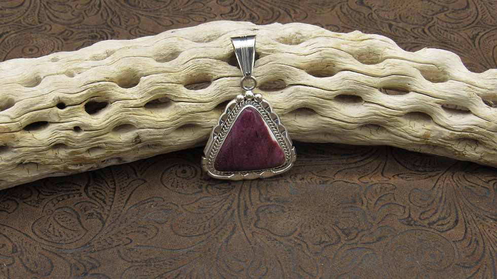 Purple Spiny Oyster Sterling Silver Pendant