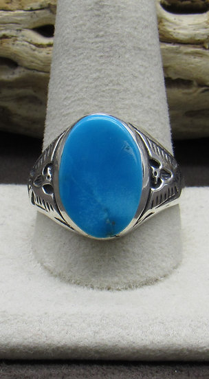 Turquoise and Sterling Silver Thunderbird Ring Size 12
