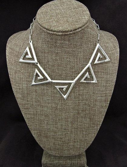 Southwestern Triangular Sterling Silver Swirl Necklace
