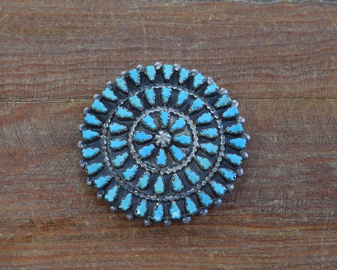 Vintage Zuni Turquoise Needlepoint Sterling Silver Pin