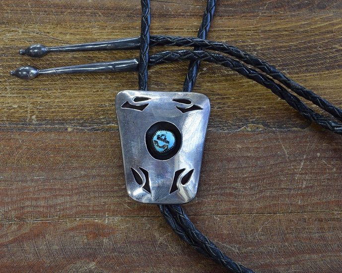 Vintage Southwestern Sterling Silver and Turquoise Shadowbox Bolo Tie