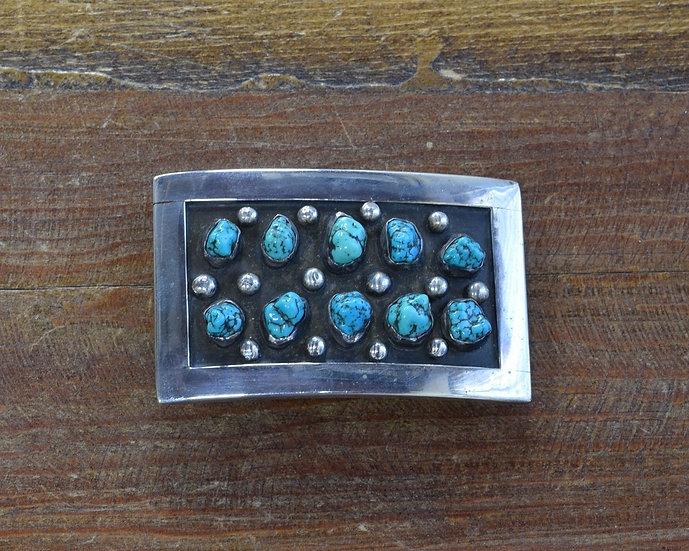 Sterling Silver Vintage Turquoise Belt Buckle