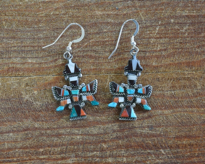Vintage Zuni Sterling Silver and Multi-Stone Inlay Knifewing Earrings