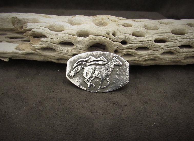Navajo Sterling Silver Horse Overlay Pendant by Alex Beeshligaii