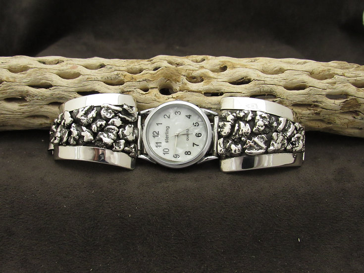 Southwestern Silver Nugget Watch Band by Alberto Contreras