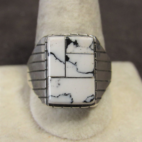 Southwest Sterling Silver Inlaid Magnesite Men's Ring Size 12