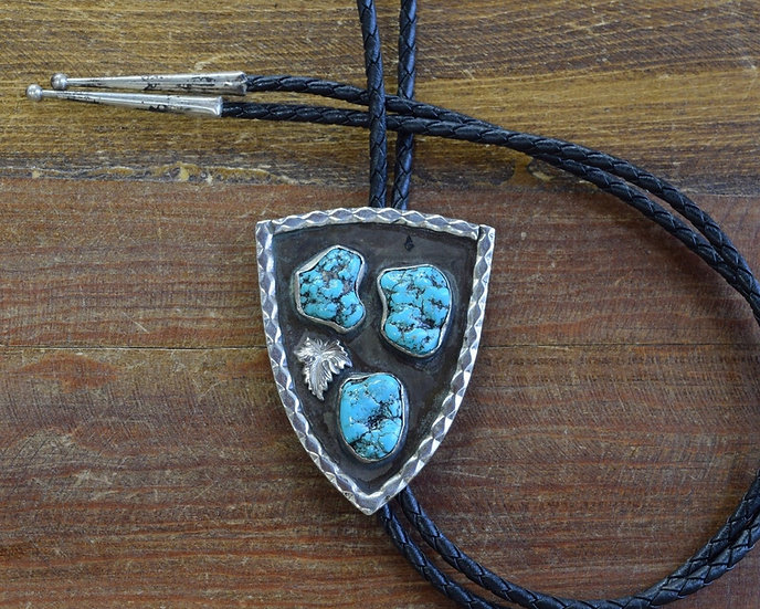 Vintage Southwestern Sterling Silver and Turquoise Bolo Tie