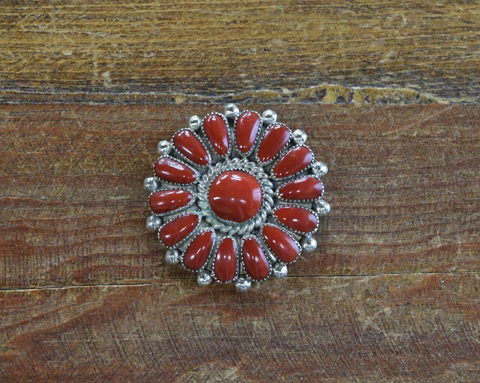 Vintage Sterling Silver Coral Cluster Pin/Pendant