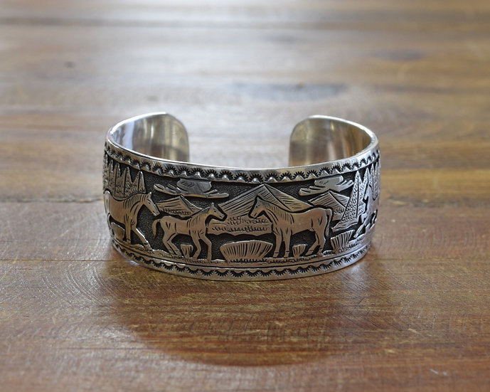 Navajo Sterling Silver Overlay Horses Cuff Bracelet by June Defauto