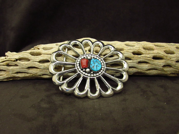 Navajo Sterling Silver Turquoise and Coral Sandcast Belt Buckle