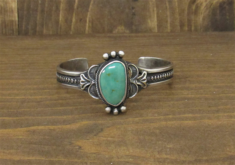 Vintage Sterling Silver and Green Turquoise Cuff Bracelet