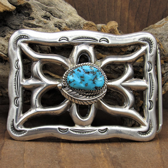 Vintage Navajo Sterling Silver and Turquoise Sandcast Belt Buckle by Nellie Tso