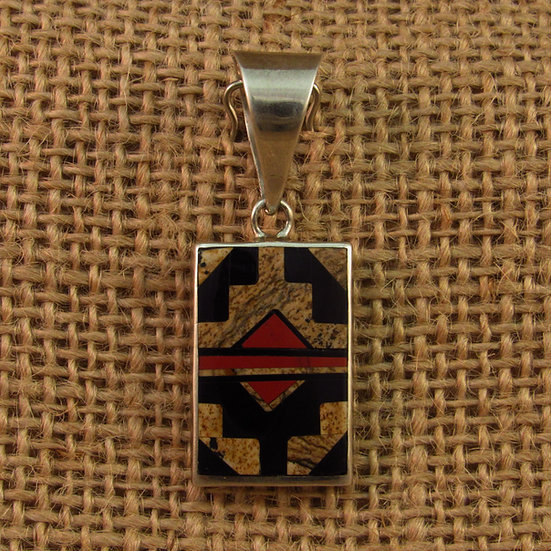 Navajo Reversible Jasper Inlay Sterling Silver Pendant