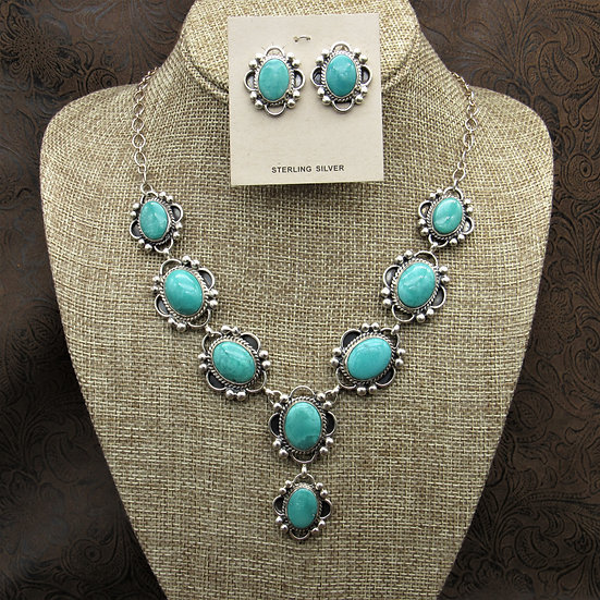 Beautiful Sterling Silver Turquoise Necklace And Earrings Set By Toadlena