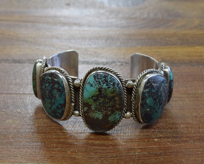 Heavy Vintage Sterling Silver and Turquoise Cuff Bracelet