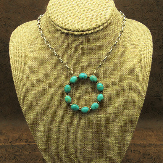 Turquoise Sterling Silver Circle Necklace