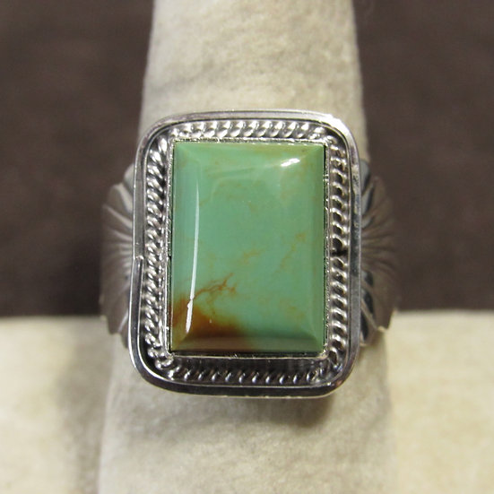 Sterling Silver and Rectangular Green Turquoise Ladies Ring Size 9.25