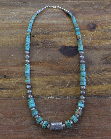 Vintage Turquoise and Sterling Silver Bead Necklace