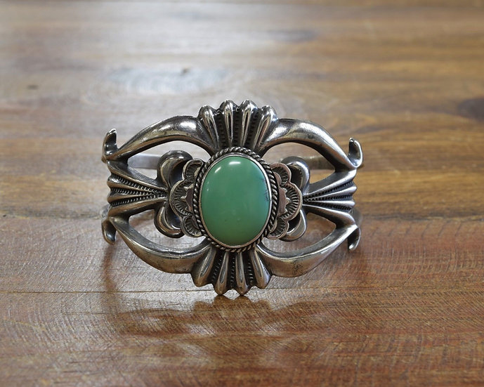 Navajo Sterling Silver and Turquoise Sandcast Cuff Bracelet H B