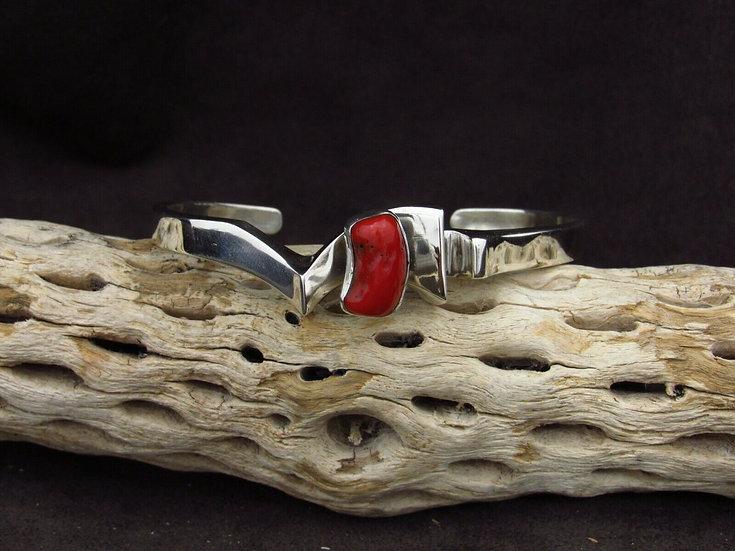 Modern Sterling Silver Coral Cuff Bracelet