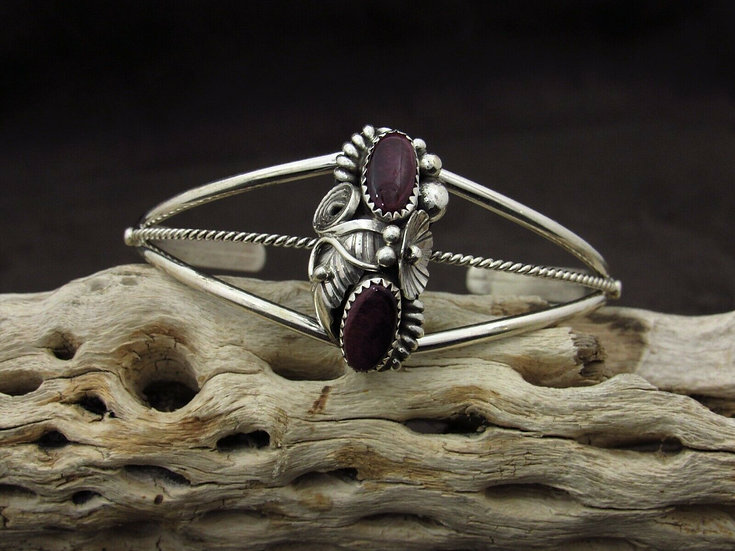 Navajo Spiny Oyster Sterling Silver Cuff Bracelet by Max Calabaza