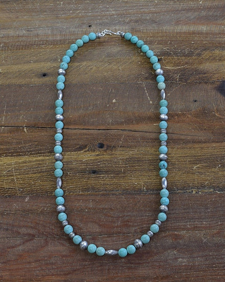 Navajo Turquoise and Sterling Silver Bead Necklace 23 1/2""