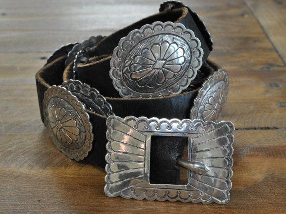 Vintage Southwest Sterling Silver Concho Belt