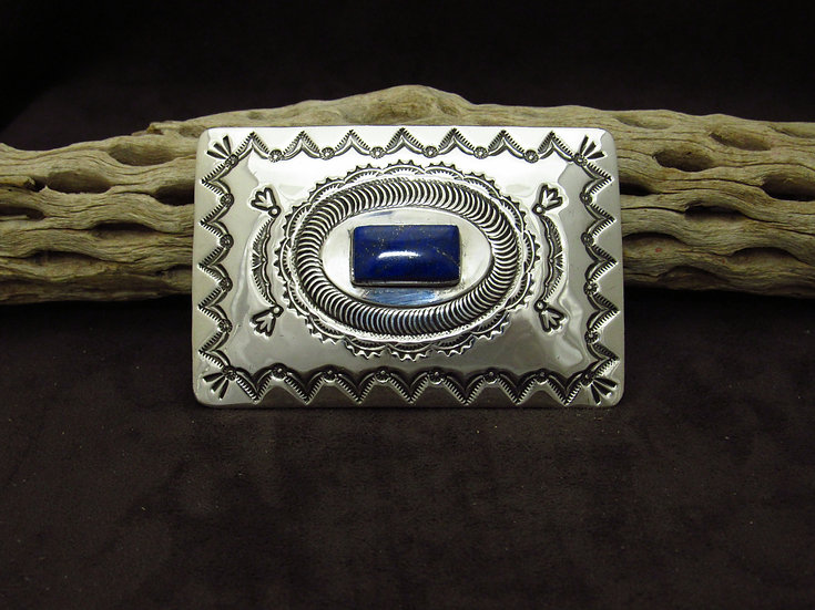 Navajo Sterling Silver Stamped Lapis Buckle