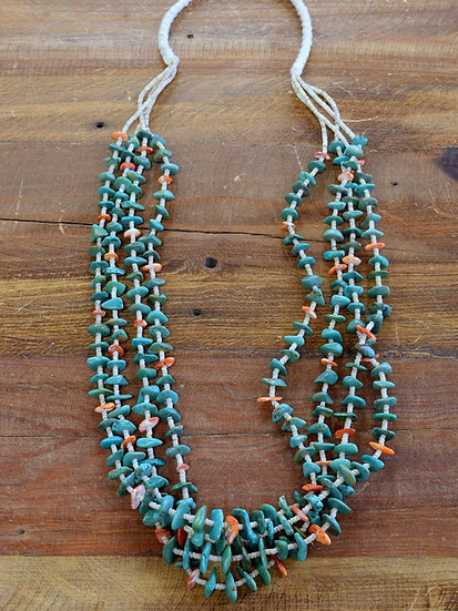 Four Strand Heshi, Turquoise and Spiny Oyster Necklace