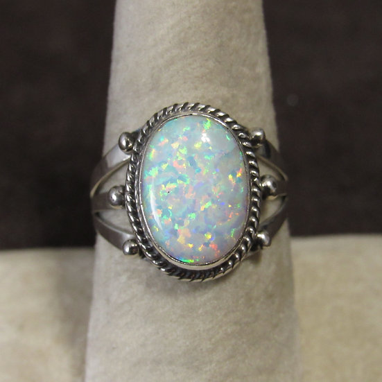 Beautiful Sterling Silver and Lab Opal Ladies Ring Size 9