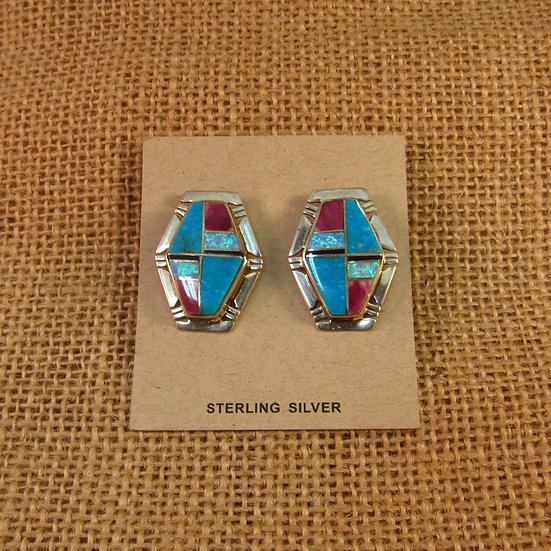 Navajo Multi Stone Inlay Sterling Silver Post Earrings