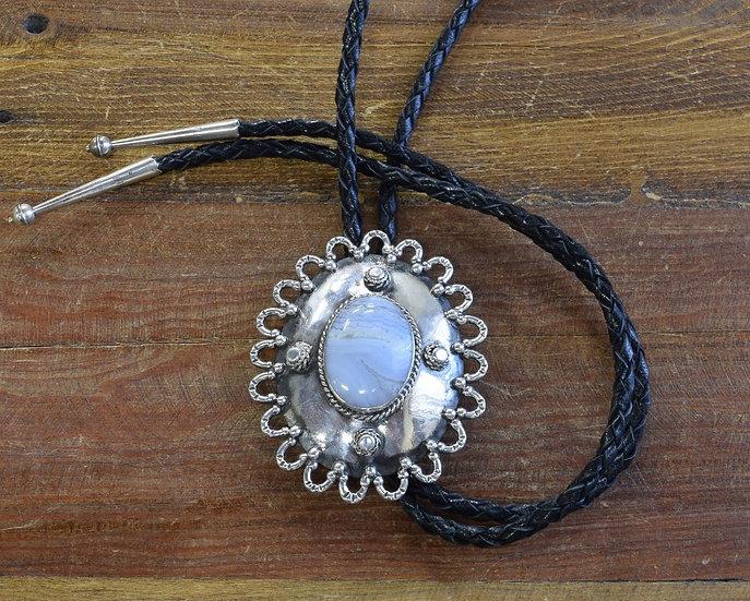 Vintage Southwestern Sterling Silver Lace Agate Bolo Tie