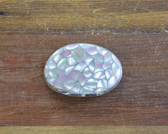 Zuni Sterling Silver Green Snail Shell Inlay Belt Buckle
