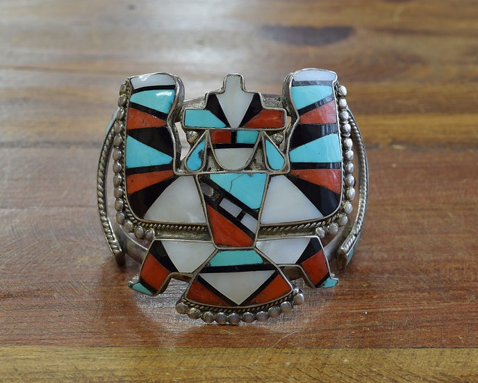Vintage Southwest Knifewing Kachina Multi-Stone Inlay Cuff Bracelet